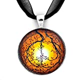Laura Milnor Iverson Autumn Sunset Peace Sign Tree Handmade Art Pendant Necklace   Black Ribbon Necklace