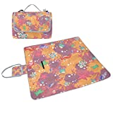 ALIREA Abstract Marine Life Picnic Blanket Tote Handy Mat Mildew Resistant and Waterproof Camping Mat for Picnics, Beaches, Hiking, Travel, RVing and Outings