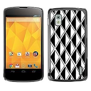 TopCaseStore / la caja del caucho duro de la cubierta de protección de la piel - Black White Polygon Illusion Optical - LG Google Nexus 4 E960