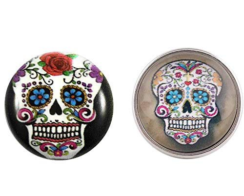 Snap Charm Happy Laughing Colorful Skulls Set of 2 20mm Fits Ginger Snaps