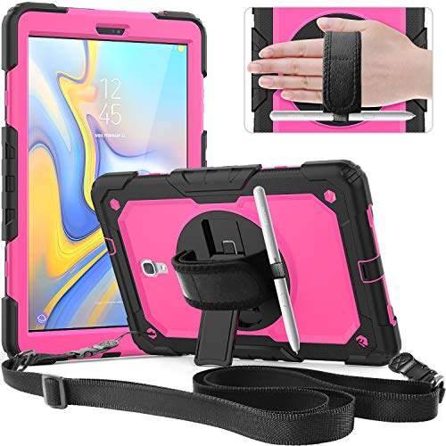 Galaxy Tab A 10.5 Case,SXTech Rugged Case Cover with Heavy Duty Protection and Built-in Kickstand/a Hand Grip Strap Cover for Tab A 10.5 SM-T590 T595 T597 2018 Release Tablet,for Girls and Kids-Rose