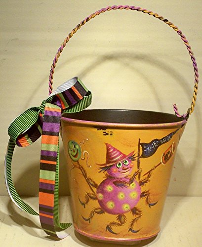 Shake Rattle & Roll Bucket - Handmade, Halloween, Clown, Decorative, Hand Painted, Children's Metal Bucket, Decoration, Holiday