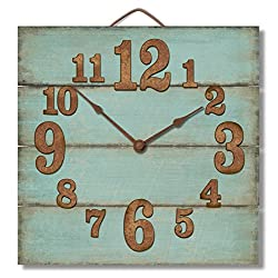 Highland Graphics 12 Rustic Turquoise Blue Wall Clock Made in USA from Reclaimed Wood Slats