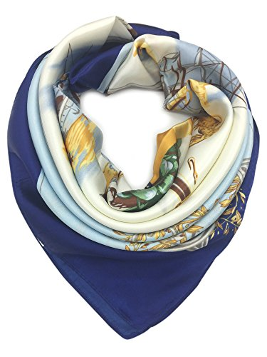 (YOUR SMILE Baby Blue Ship Silk Like Scarf Women's Fashion Pattern Large Square Satin Headscarf (148))
