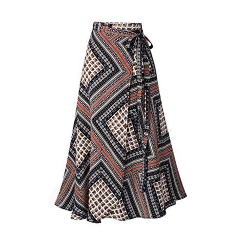 〓COOlCCI〓Women's Long Bohemian Hippie Skirt Boho Dresses Asymmetric Hem Design Vintage Long Maxi Skirt Red -
