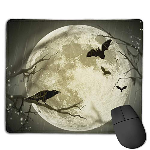 (Customized Design Rectangle Non-Slip Rubber Gaming Mousepad (Halloween Moon Illustration)
