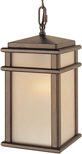 Feiss OL3411CB Mission Lodge Outdoor Lighting Pendant Lantern, Bronze, 1-Light 7 W x 14 H 150watts