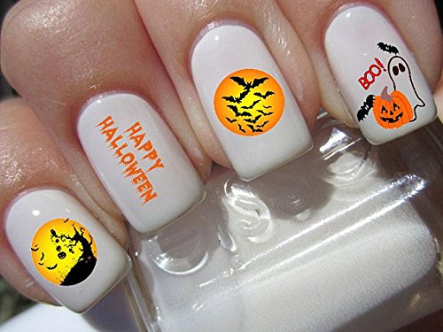 Halloween Nail Decals graveyard gothic nail art design set happy halloween ghosts and bats Buy one get one free of our choice N165 ()