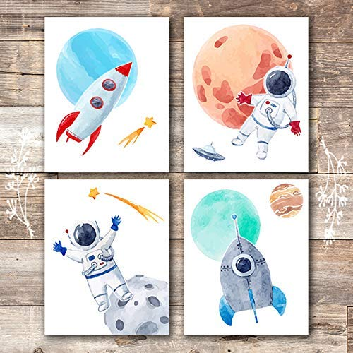 Kids Space Decor Art Prints (Set of 4) - Unframed - 8x10s