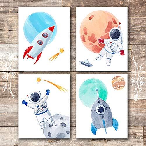 Kids Space Decor Art Prints (Set of 4) - Unframed - 8x10s ()