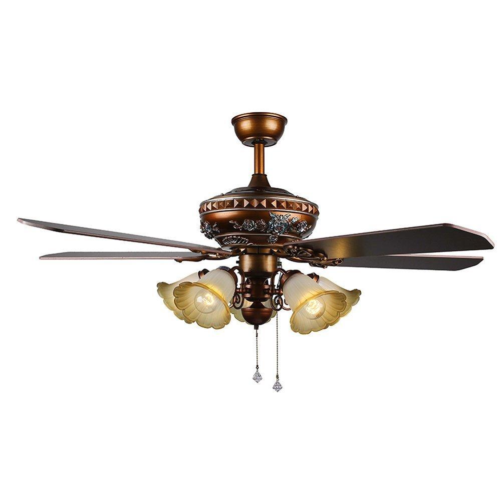 RainierLight Antique Ceiling Fan Lamp Led Light Chandelier for Bedroom/Living Room/Indoor 5 Wood Blades 52 Inch Home Decoration