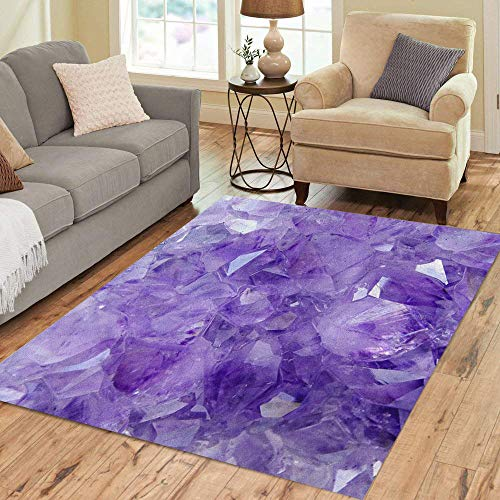 2' Pink Crystal - Semtomn Area Rug 2' X 3' Purple Crystal Amethyst Pink Gemstone Stone Gem Nature Jewel Home Decor Collection Floor Rugs Carpet for Living Room Bedroom Dining Room