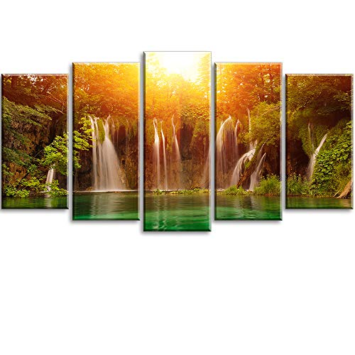 Canvas Wall Art for Living Room, PIY 5 Piece Orange Waterfall Picture, Modern Prints Artwork Decor (Waterproof, Bracket Mounted Ready to Hang)
