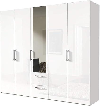 Soluciones 17730 5 Puertas, ártico Color Blanco/Frente Lacado Blanco 203 Armario de Puertas correderas con Espejo y 2 schubkästen: Amazon.es: Hogar