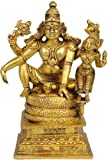 Lord Vishnu Seated with Lakshmi - Brass Statue