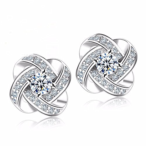 Silver-Plated Stud Earrings For Women, 1 Set, Love Knot, Cubic Zicrconia By Lemon -