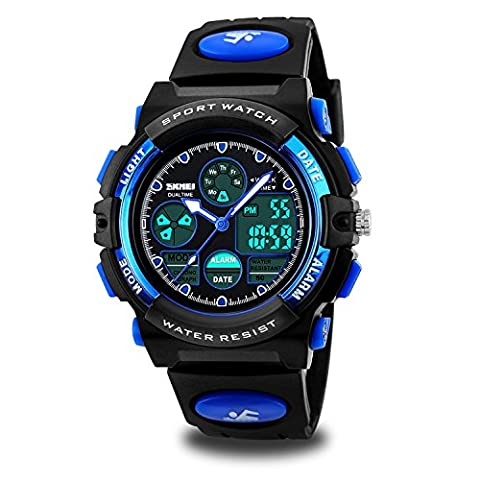 Kids Sport Outdoor Digital Unusual Analog Quartz Dual Time Zone Waterproof PU Resin Band Watch with Chronograph, Alarm, Classic Design Calendar Date Window for Boys Girls Children - (Watch With Date)