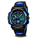 Kids Sport Outdoor Digital Unusual Analog Quartz Dual Time Zone Waterproof PU Resin Band Watch with Chronograph, Alarm, Classic Design Calendar Date Window for Boys Girls Children - Blue