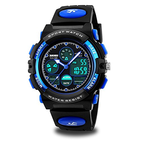 Kids Sport Outdoor Digital Unusual Analog Quartz Dual Time Zone Waterproof Pu Resin Band Watch With Chronograph  Alarm  Classic Design Calendar Date Window For Boys Girls Children   Blue