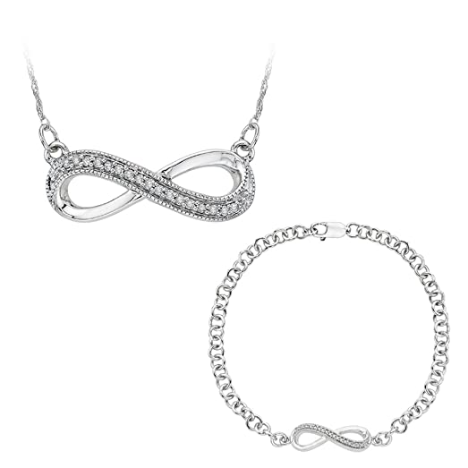 Amazon Infinity Diamond Bracelet and Pendant Necklace Jewelry