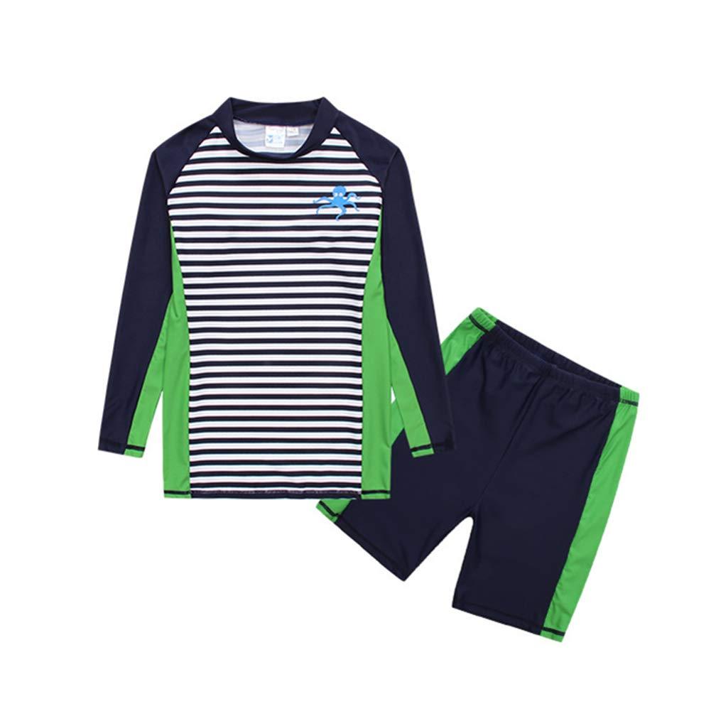 Boys Two Piece Swimsuit Sunsuit Swimwear Long Sleeve Big Kid Stripe Rash Guard Set Sun Protection 8-16t