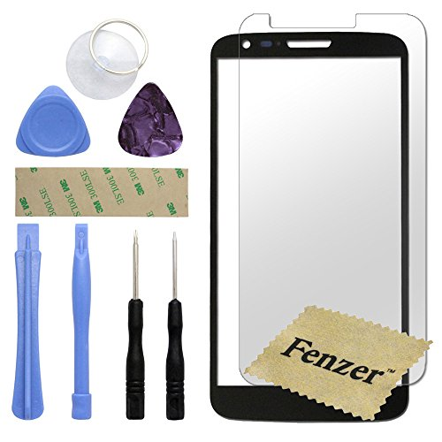 Fenzer Black Replacement Glass Lens Screen for LG G2 with 8 Piece Tool Kit Screen Protector