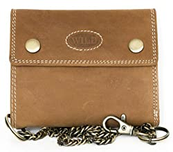 Brown Biker's Genuine Leather Wallet Wild with Metal Chain