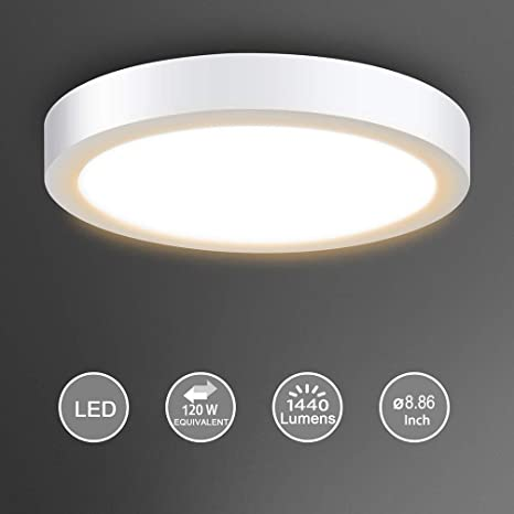 pretty nice 9bcf4 f459a Surface Mount Led Ceiling Light-18W Round LED Panel Light, 3000K, Warm  White for Kitchen,Closet, Bedroom, Cabinet 1440lm, Not-Dimmable(120 watt ...