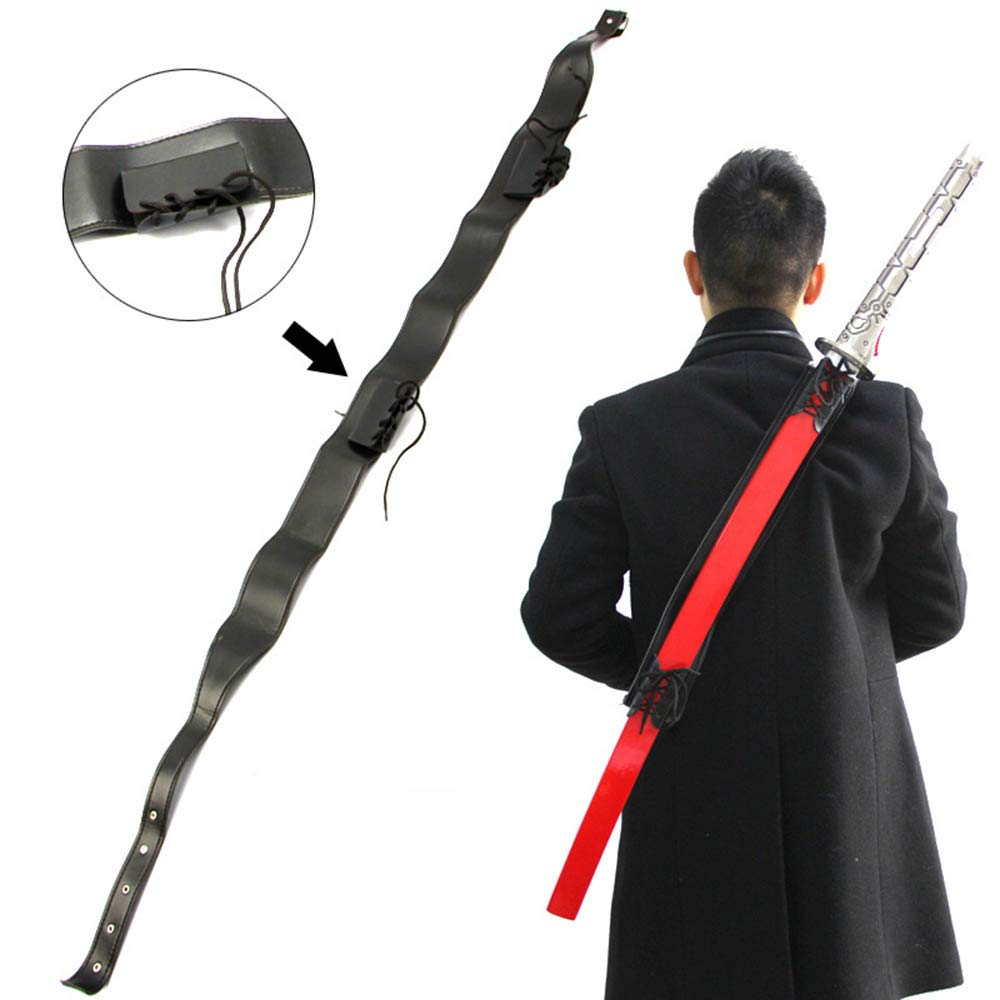 Wraith of East Katana Sword Carry Case DIY Ninja Samurai Weapon Bag Faux Leather Shoulder Harness Sheath Medieval Knights Sword Carrying Back Scabbard