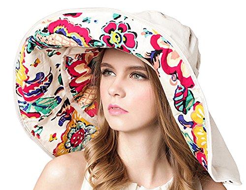 Bienvenu Women Summer Sun Cap Wide Brim Beach Bohemia Foldable UPF 50+ Travel Beach Sun Visor Bucket Hat (Circle Womens Cap)