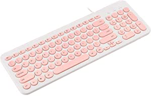 Wired Keyboard,Attoe Compact Wired USB Mini Keyboard Silent Ergonomic Cute Keyboard - Smooth Typing,Works with Mac and PC,Computer,Windows 10/8 / 7 / Vista/XP (Pink)