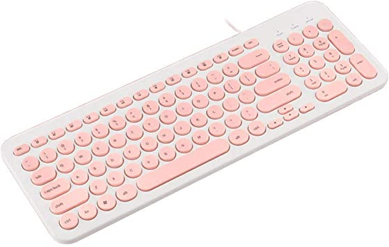 Black XIONGHAIZI Silent Wired Chocolate Keyboard Green Game Dedicated Retro Punk Round Keycap Keyboard Notebook Desktop Computer External Ultra-Thin USB Home Office Keyboard White Office Pink