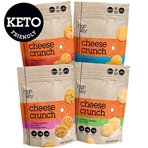 HighKey Snacks Cheese Crunch - Cheese & Egg White High Protein Cheese Crisps - Low Carb, Keto Friendly, Gluten Free, Healthy Snack - Ketogenic Food For Any Diet with Natural Ingredients - Variety