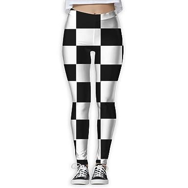 b187c836f95ae EWDVqqq Women Yoga Pant Black White Chess Mosaic High Waist Fitness Workout  Leggings Pants