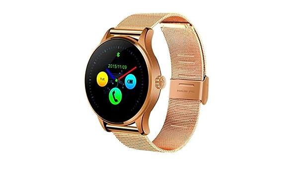 k88h Bluetooth inteligente reloj monitor de ritmo cardíaco Smartwatch banda de acero inoxidable reloj de pulsera para IOS y Android: Amazon.es: Electrónica