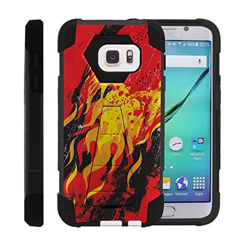 Blazing Baseball - MINITURTLE Case Compatible w/ Galaxy S7 Case   Dual Layer Hard Rubber Phone Case w/ Stand Baseball , Samsung S7 Blazing Pitch