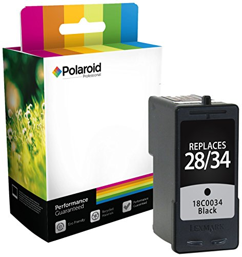 Polaroid Professional L-0034-PRO Remanufactured Inkjet Cartridge Replacement for Lexmark 28/34 (18C0034), Black Ink