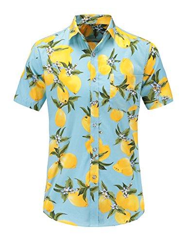 38b44090 JEETOO Men's Pineapple Floral Short Sleeve Hawaiian Aloha Shirt ...