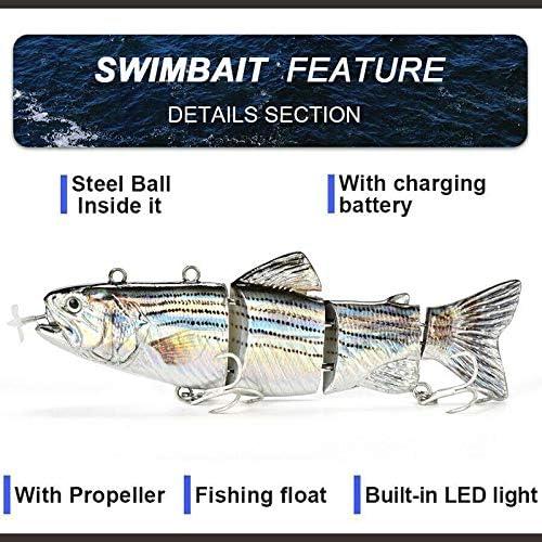Gmxop Elektrischer Fischk/öder Wobblers 4-Segment Swimbait USB Rechargeable Artificial Bait