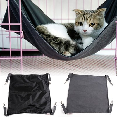 Petneces Cat Hammock Under the Chair Waterproof Oxford Fabric Hanging Bed Mat for Cage for Rabbit/Rat/Ferret- 2 in 1 Summer&Winter - Easy to Attach to a Cage (Black)