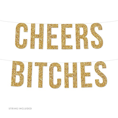 Andaz Press Real Glitter Paper Pennant Hanging Banner, Cheers Bitches, Gold Glitter, Includes String, Pre-Strung, No Assembly Required, 1-Set -