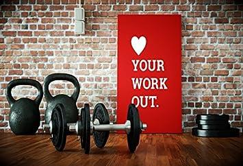 OFILA Gimnasio telón de fondo 6 x 4 ft Mancuerna de deportes equipo fotos física del ejercicio Club fondo gimnasio entrenador Vintage ladrillo pared ...
