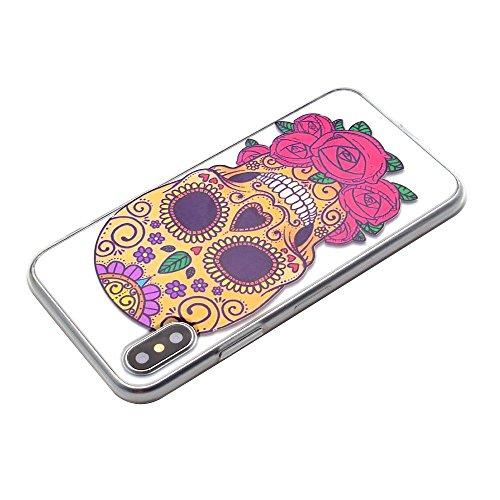 inShang funda para iPhone X 5.8inch funda del teléfono móvil, anti deslizamiento, ultra delgado y ligero, Estuche, Cubierta, carcasa suave hecho en el material de la TPU, cómodo Case Cover for iPhone  colorful skull
