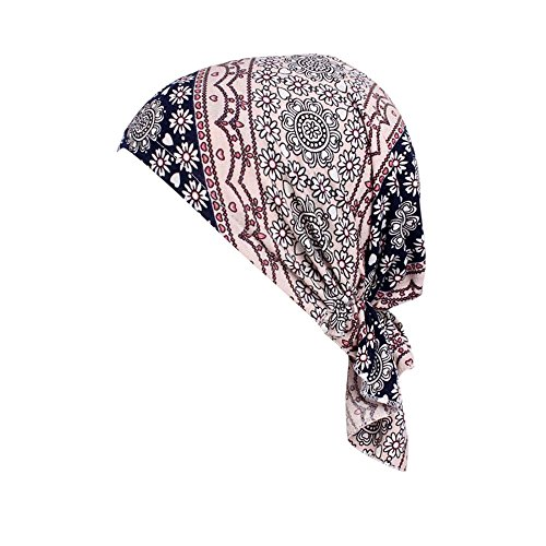 〓Londony〓 Women Elastic Wide Band Head Scarf Turbans Print Bonnet Multifunction Night Sleep Hat Chemo Hair Loss Wrap Cap