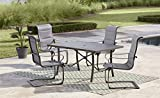 Cosco Outdoor Dining Set, SmartConnect, 5 Piece, Charcoal Gray with Light Gray Cushions