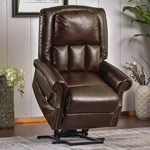 P PURLOVE Power Lift Recliner, Soft PU Leather Lift Chair, Electric Recliner Chairs for Elderly, Living Room Reclining Sofa Chair with Built-in Remote Control for Gentle Motor (Brown)