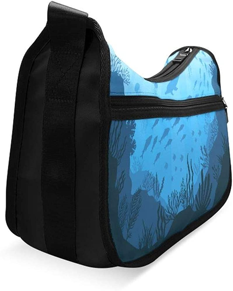 Underwater World With Reefs And Tropical Fishes Messenger Bag Crossbody Bag Large Durable Shoulder School Or Business Bag Oxford Fabric For Mens Womens