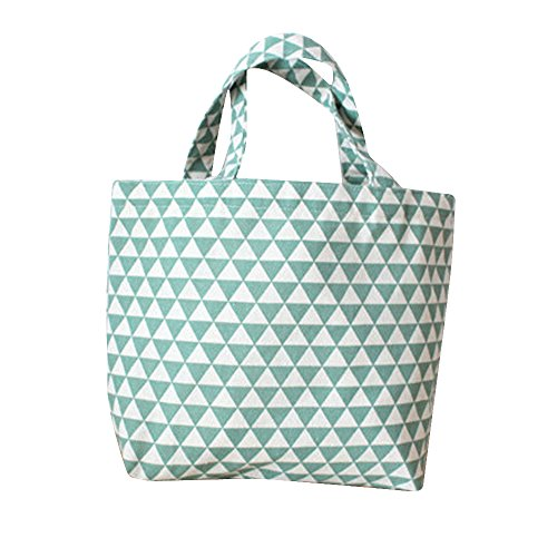 Flowertree Unisex Triangle Plaid Pattern Small Canvas Tote Bag (blue)