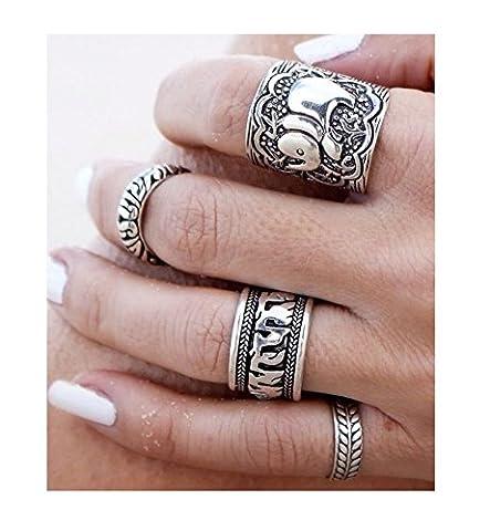 Boho Elephant Ring Set - Bohemia - Luck - Antique Silver 4 piece (Boho Rings Silver)