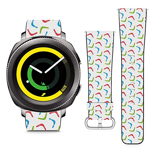 Compatible with Samsung Gear Sport // 20mm Leather Replacement Bracelet Strap Wristband with Quick Release Pins // Colorful Boomerangs ()